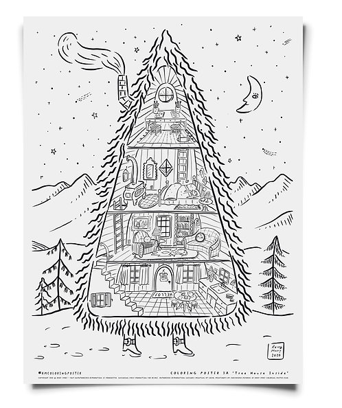 Tree House Coloring Poster Download