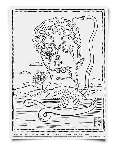 Inspired By Series #2 - Salvador Dali -  Coloring Poster Download