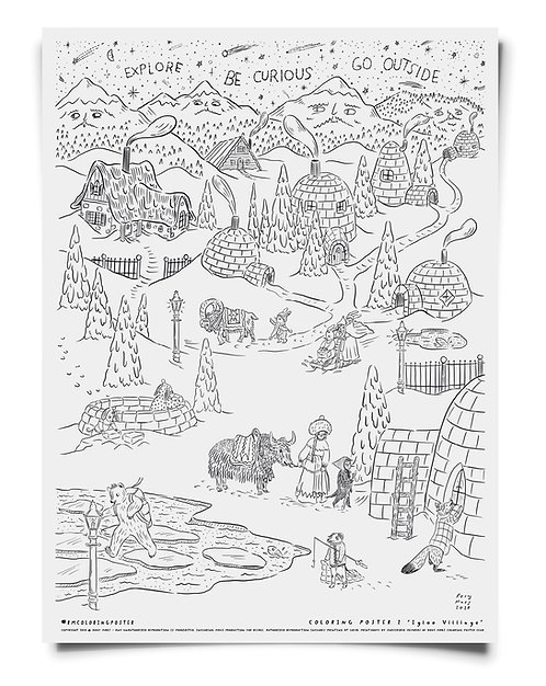 Igloo Village Coloring Poster Download