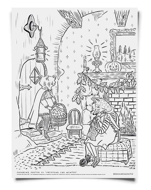 Prepping for Winter -  Coloring Poster Download