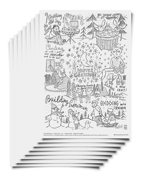 Winter Gratitude- Coloring Poster Pack Download