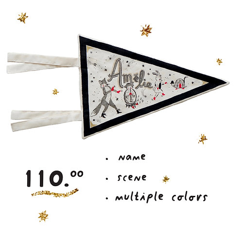 Custom Hand Painted Pennant - Illustrated Scene