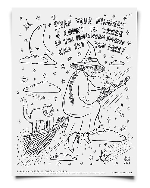 Witchy Spirits Coloring Poster Download