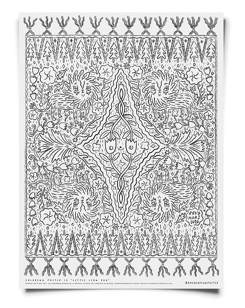 Little Lion Rug Coloring Poster Download - large & small size