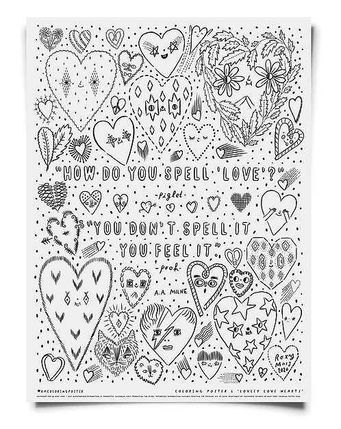 Lovely Love Hearts Coloring Poster Download