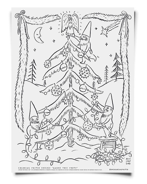 Coloring Poster Freebie %22Gnome Tree Pa