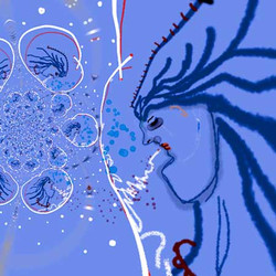 Blue Woman Thinking