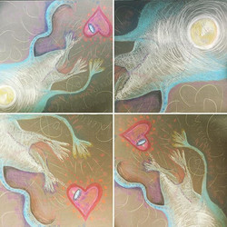 Four views from a larger pastel drawing done the day my mom, Frima Malka, was in her life transition