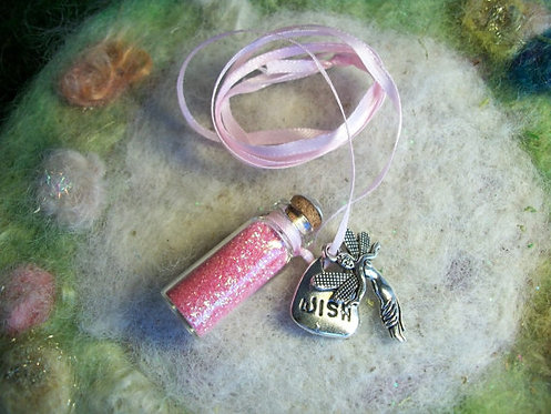 Rose Pink Fairy Dust with Silver Charms Necklace