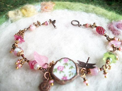 Broken China Bracelet with Tiny Pink Rose Motif