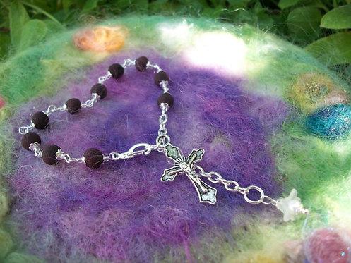 Rose Petal Bead Rosary Bracelet