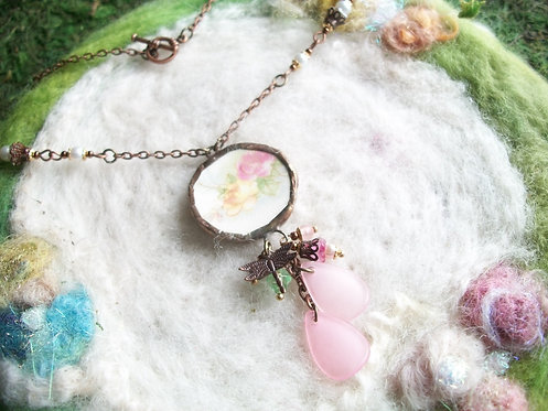 Broken China Necklace with Double Rose Motif