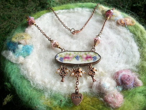 Broken China Necklace, Recycled Broken China
