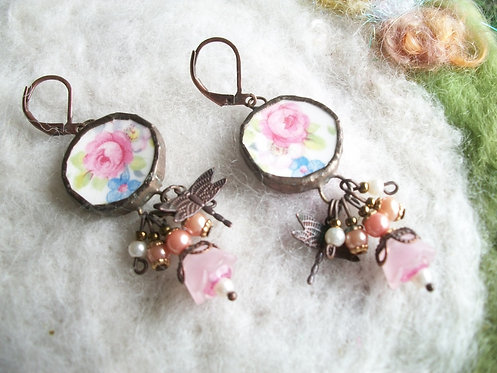 Broken China Earrings with Pink Rose Motif