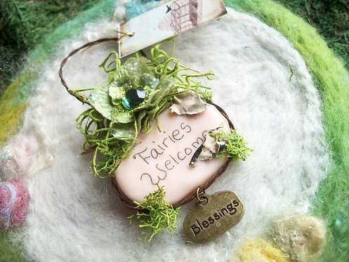 Fairies Welcome Clay Wall Hanging, Plaque, Sign
