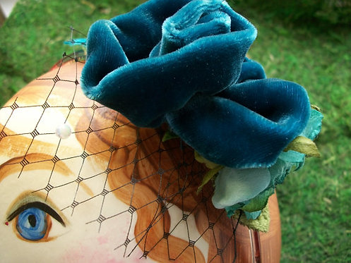 Velvet Rose Headband with Vintage Netting