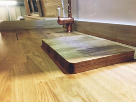natural oak counter top in campervan conversion