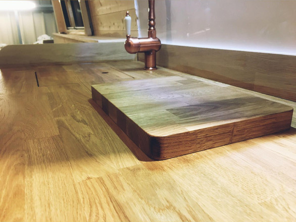 natural oak counter top in campervan conversion