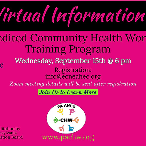 LCCC- CHW Information Session - September 15th @ 6 pm