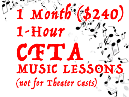 CFTA Music Lesson - Monthly Full-hour (not for PYT theater casts)