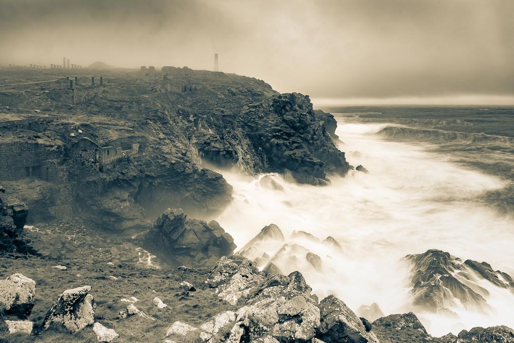 Geevor in fog and high sea