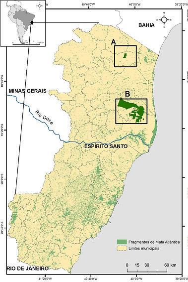 Mapa do Espírito Santo demonstrando as três áreas de atuação do Pró-Tapir.