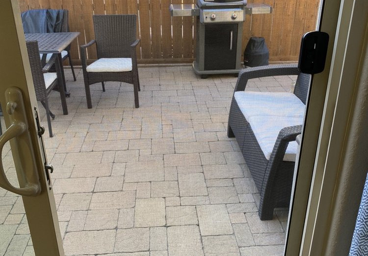 Screen replacement on patio door.