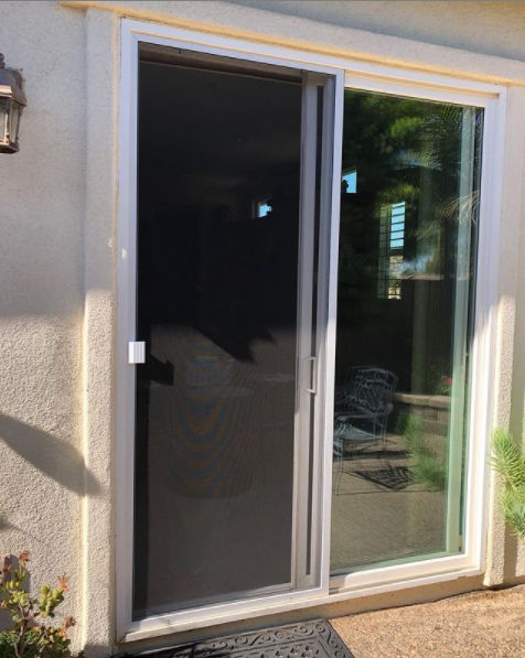 """New 1 3/4"""" frame slider installation in white. We fabricate and install new sliding screen doors in 1 3/4"""" and upgraded 2 1/2"""" thick frames."""