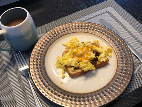 Scrambled Eggs with Mixed Exotic Mushrooms on Toasted Brioche