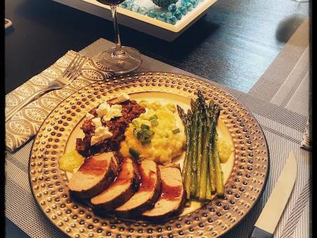 Pork Tenderloin with Balsamic Glaze, Turkish Eggplant, Roasted Asparagus and Pommes de Terre