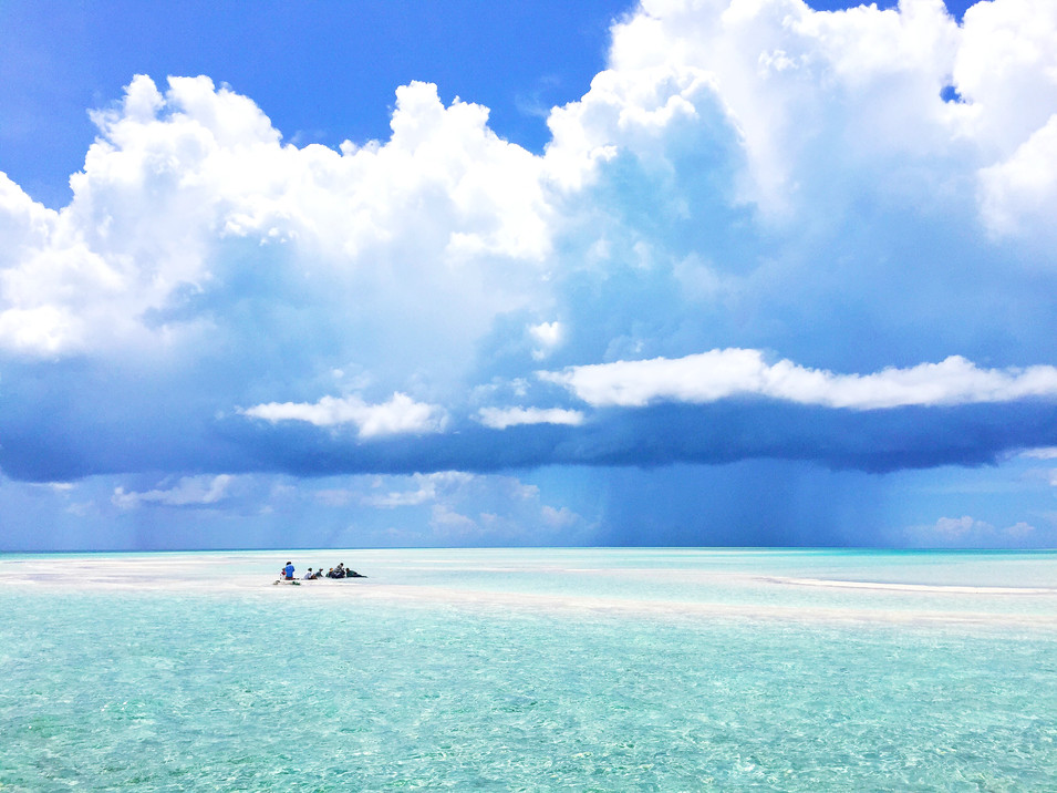 The stingray team works up an individual in the shallow waters of a sandbar as a rainstorm rolls across the horizon.