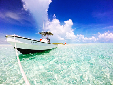 The stingray team's mode of transportation out to the shallow sandbars and cays that southern stingrays inhabit.