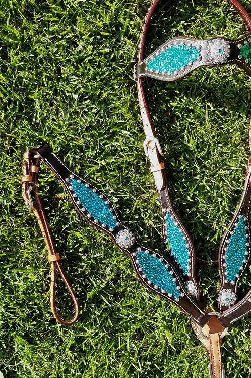 Teal Blue  Turquoise Crystal Bridle Breastcollar Set
