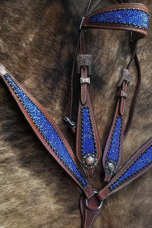 Sapphire Blue Contoured Bridle Breast Collar Set