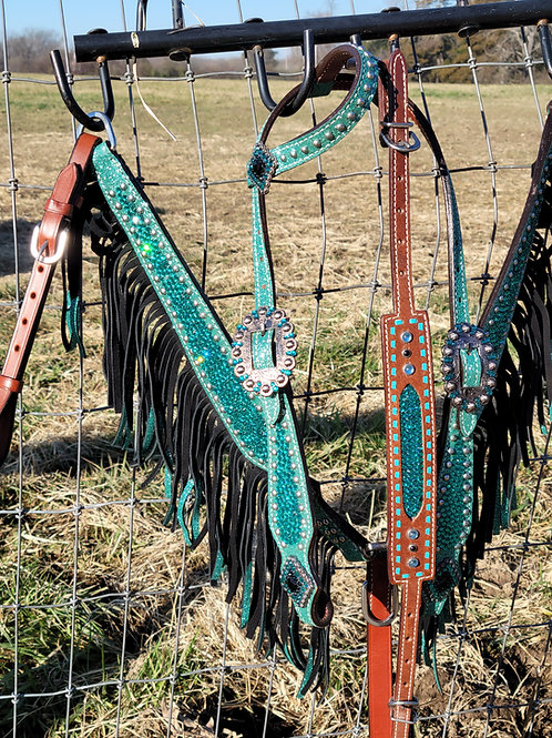 Turquoise / Teal Crystal Bridle Breast Collar Wither Strap Reins