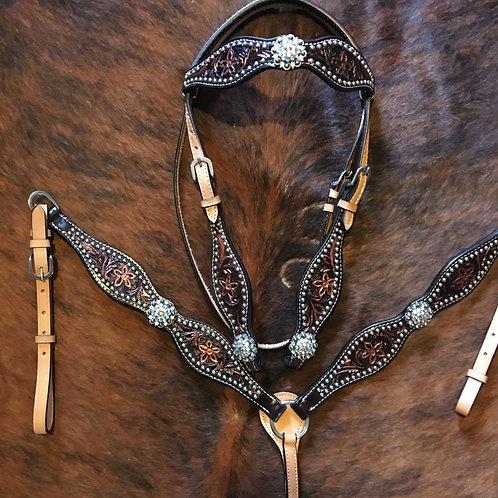 Scalloped Copper Bridle Breast Collar Set