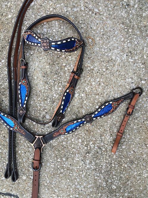 Blue Alligator Inlay Buck Stitch  Bridle Breast Collar Set