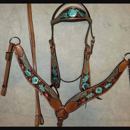 Turquoise & Copper Bridle Breast Collar Reins