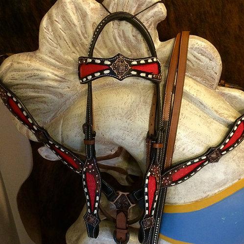 Red Alligator Inlay w White Buck Stitch Leather Bridle Breast Collar Set