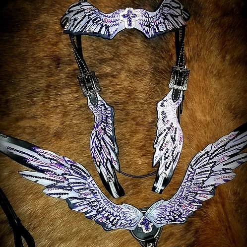 Purple & Clear AB Crystal Wings Feather Bridle Breast Collar Set w Cross Conchos