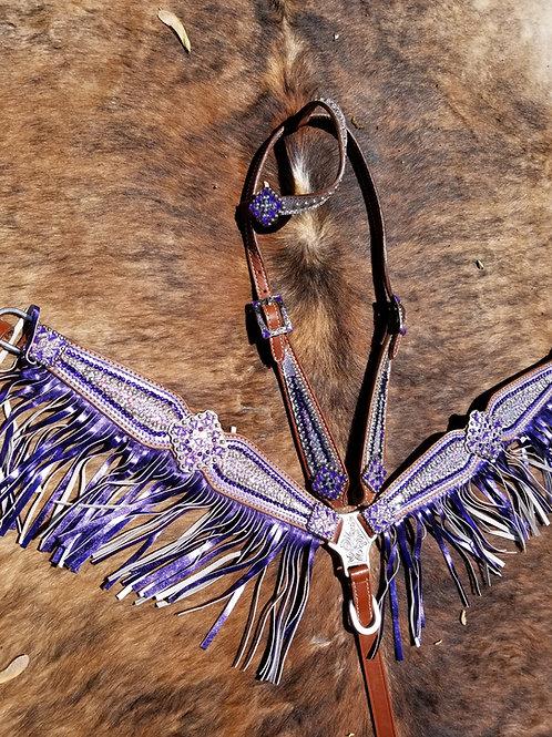 Purple & Clear Crystal Bridle Breast Collar Reins Set w Fringe