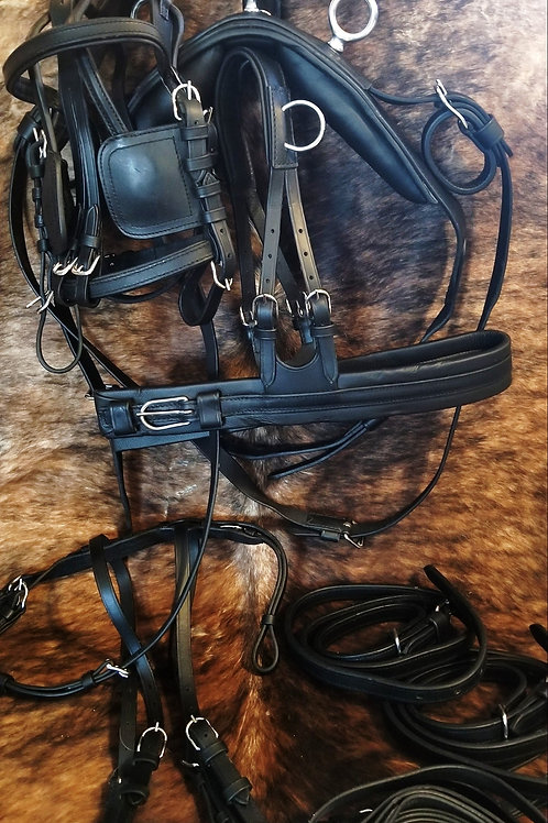 Large Pony / Cob Size Padded Leather Driving Harness
