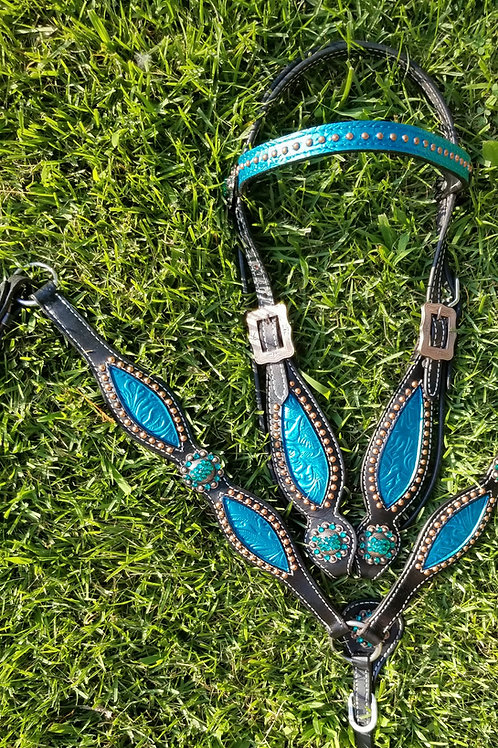 Black with Turquoise Inlay Bridle Breast Collar Set Crystal Conchos