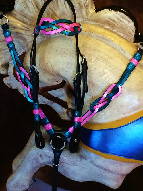 Pink Teal Black Celtic Knot Bridle Breast Collar