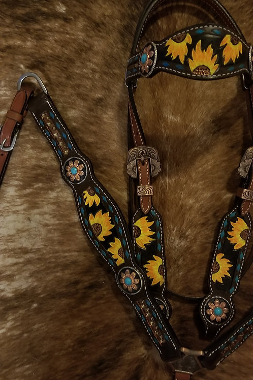 Topaz Crystal Yellow Sunflower &Bridle Breastcollar Reins Set Turquoise Conchos