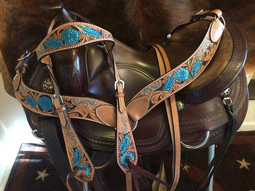 Teal w Black Accent Bridle Breast Collar Reins Set