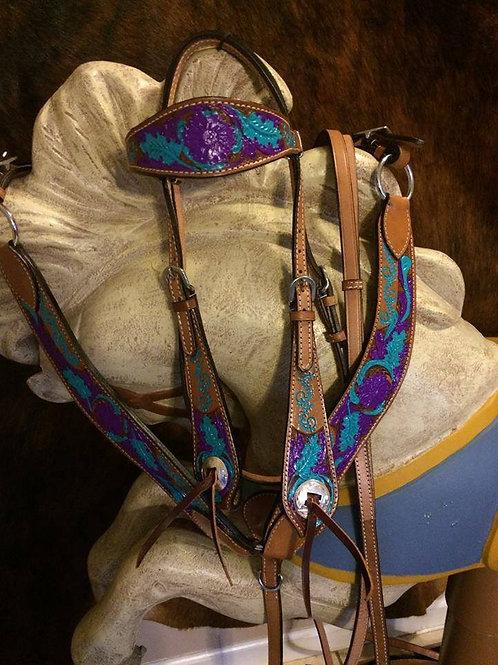 Turquoise & Purple Bridle Breast Collar Reins Set