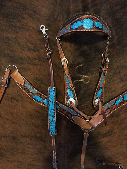 Turquoise & Copper Bridle Breast Collar Reins Wither Strap Set