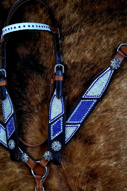 2 Tone Clear & Sapphire Crystal Bridle Breastcollar Set
