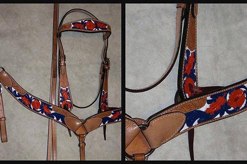 Orange Blue White Bridle Breast Collar Reins Set